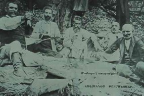 Poet Hovhannes Tumanyan with friends