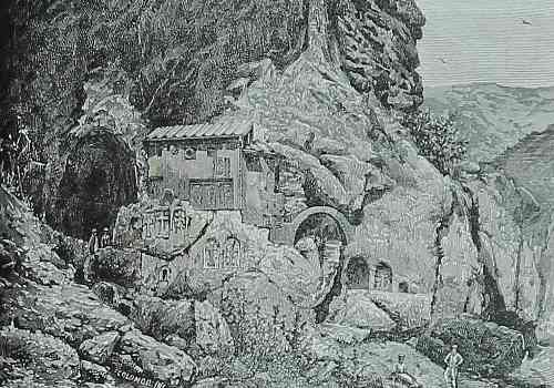 Geghard rock chapel at the summit