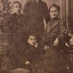 The Djoloyan brothers with their mother 1904. They are in the Essayan College. Hagop Sirouni is standing behind his brothers Hayg and Krikor