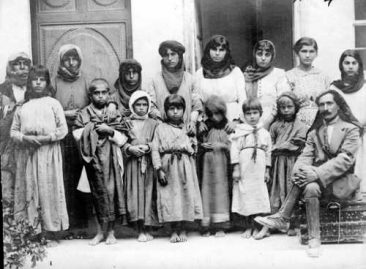 Levon Yotnakhparian with Armenian orphans