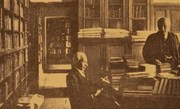 Professors Khatchatrian and Taghianosian in the library of Etchmiadzin