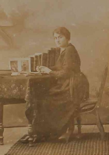 Unidentified Armenian woman writting