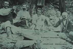 Poet Hovhannes Tumanyan with friends