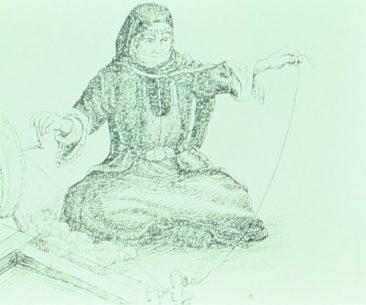 Artsakhtsi woman sewing