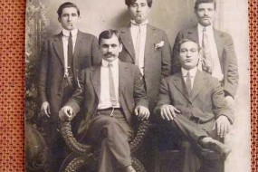 Unidentified Armenian men in Whitinsville – 1910
