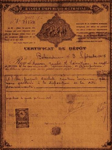 Deposit certificate for the Armenian Union of Sivrihisar – 1915