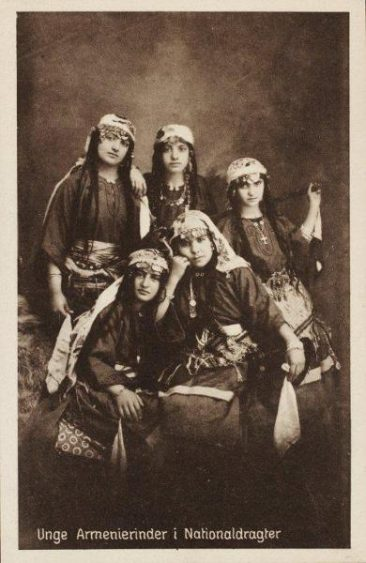 Armenian young women postcard – Kharpert 1910