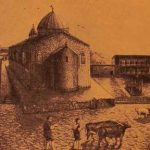 Surp Lusavorich Monastery of Garin, sketched by V. Ghazikian