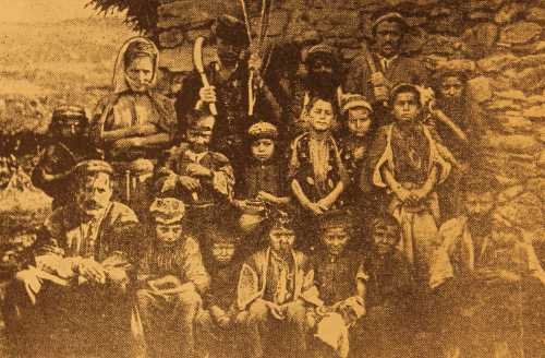 Armenian children with their parents, Keghashen village in Sasun