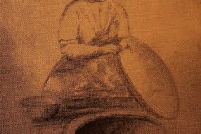 Armenian bread baker, sketch by V. Ghazikian 1930