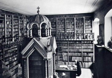 The Mekhitarist library in Vienna, with Father Nerses Akinian at study