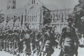 Francs-tireurs et partisans military parade with Ashod Ghartashian, Nîmes – May 1945