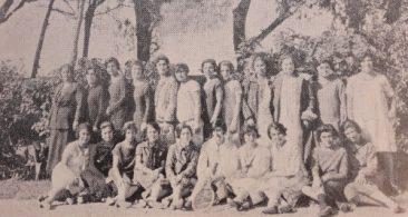 Armenian women members of the Dikran Yergat cultural association in the Nouzha Garden of Alexandria, Egypt 1925