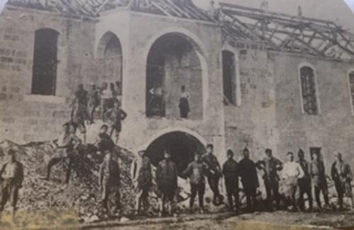My uncle Marouke Zarmanian standing on a rock in the centre, Armenian Legion, Mersin 1920