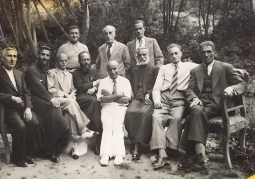 Third from left Aram Zarmanian as representative of the Aghpalian primary school of Chtaura Lebanon in a meeting of the Zahle Armenian community council circa 1950